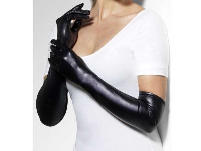 Manusi negre lungi imitatie de piele