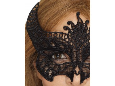 Masca venetiana din dantela neagra