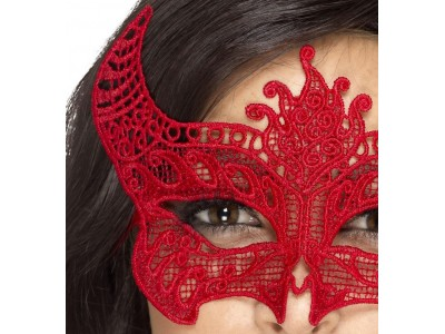 Masca venetiana din dantela rosie