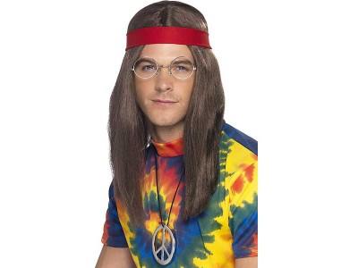 Set hippie peruca medalion ochelari