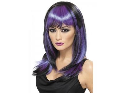 Peruca Glamour Witch negru cu violet