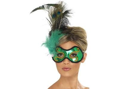 Masca venetiana Emerald Peacock
