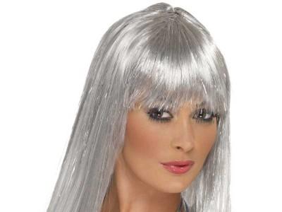 Peruca Glitter Disco gri-argintie