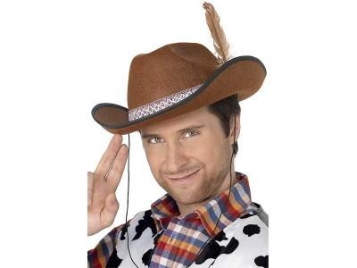 Palarie de cowboy maro cu pana